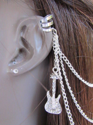 Gold Silver Metal Hair Pin Multi Rhinestone French Drapes Guitar New Women Accessories