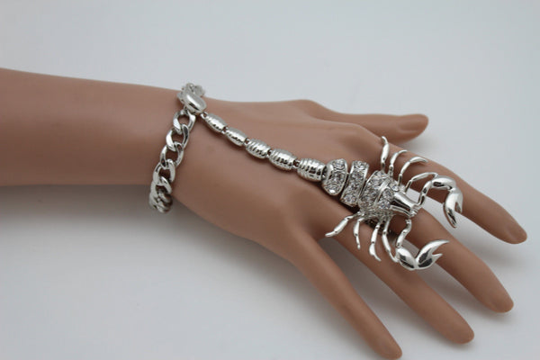 Gold Silver Metal Hand Chain Bracelet Slave Connected Finger Ring Rhinestones Long Scorpion New Women Fashion Accessories