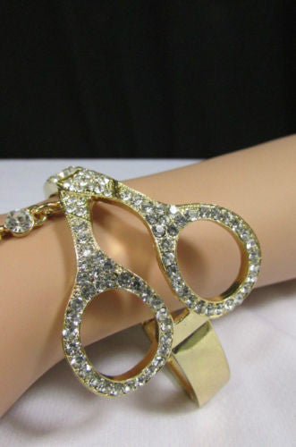 Gold Silver Metal Hand Chain Bracelet Slave Ring Big And Small Scissors Multi Rhinestones New Women Fashion Accessories