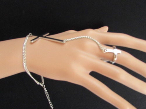 "Gold Silver Metal Hand Chain Bracelet Slave Ring 7 1/2"" Big Cross New Women Trendy Fashion Accessories"