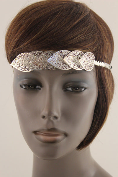 Gold Silver Metal Head Band Chain Big Leaves Lady New Women Jewelry Hair Headband Accessories