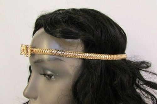 Gold Silver Metal Mash Head Forehead Bow Black Elastic Band Women Fashion Hair Accessories