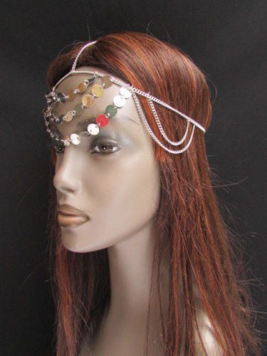Gold Silver Metal Head Chain Multi Circlet Coin Bead Forehead New Women Hair Accessories