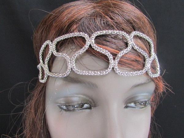 Gold Silver Metal Head Elegant Style Forehead Multi Infinity Rhinestone Hair Women Accessories