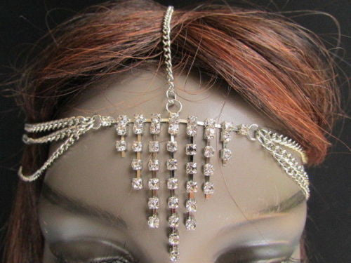 Gold Metal Head Chain Multi Rhinestones Side Triangle Geometric Shapes Fashion Hair Accessories