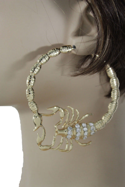 Gold Silver Metal Large Big Hoops Scorpion Hook Beads Rhiestones Earrings Set Women Fashion Accessories