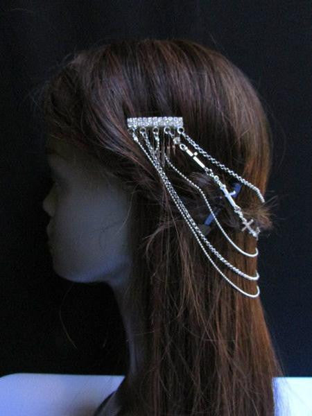Gold Silver Metal Long Chain Front Back Multi Cross Drapes Rhinestones Hair Pin Accessories