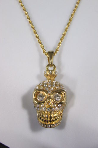 Gold Silver Metal Long Chain Skull Skeleton Head Multi Rhinestones Necklace Women Accessories