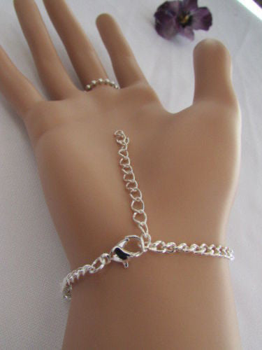 Gold Silver Metal Thin Hand Chain Bracelet Slave Ring Multi Clear Rhinestones Cross New Women Elegant Fashion Accessories