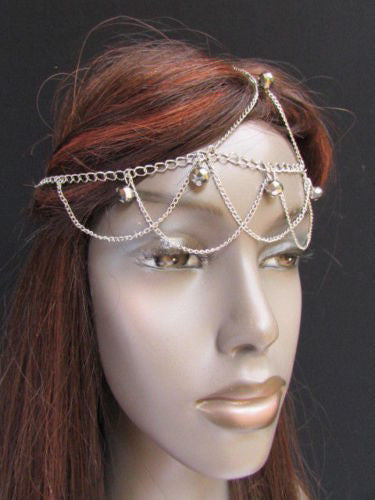 Gold Silver Metal Waves Head Thin Light Chain Multi Clear Beads Hair Piece Women Accessories