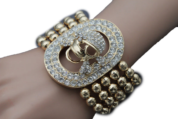 Gold Silver Metal Wide Elastic Band Bracelet Skeleton Skull Pirate Women Fashion Accessories