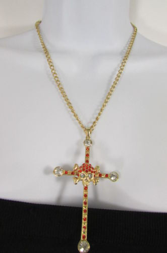 Gold Silver Pewter Gold Red Big Cross Skulls Stud Rhinestone Pendant Necklace New Women Accessories