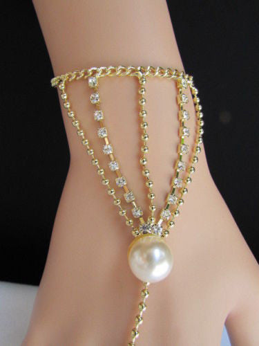 Gold Silver Thin Dressy Hand Chain Bracelet Slave Ring Big Imitation Pearl Bead Net Wrist New Women Fashion Accessories