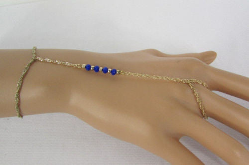 Gold Thin Hand Chains Bracelet Slave Ring Blue Turquise Charm One Row Beads Women Accessories