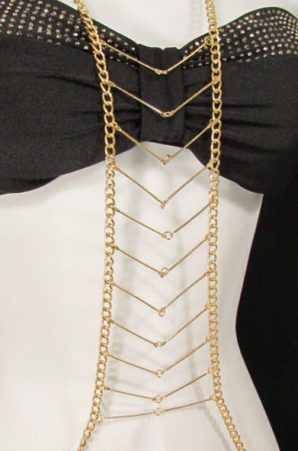 Gold Waves Metal Body Chain Hot Front Necklace New Women Style Fashion Jewelry Accessories