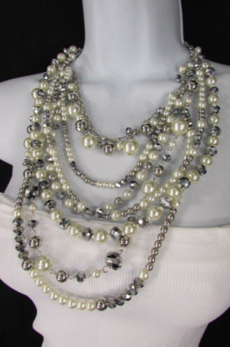 "Gray Cream Imitation Pearl Beads 7 Strands Chains 15"" Long Necklace New Women Fashion Accessories"