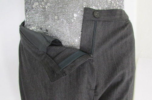 Gray Wool Trousers Pants Pin Stripe Piazza Sempione Charcoal Women American Size 10 Italian 44