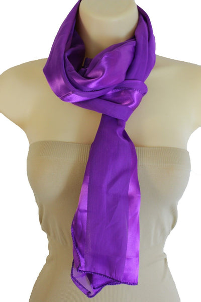 Green Black Purple Blue Long Soft Fabric Scarf Wrap Fancy Neck Tie Dressy Women Accessories