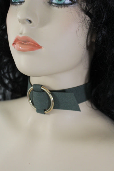 Olive Green Black Dark Red Brown Gray Leather Fabric Choker Necklace Ring Women Accessories