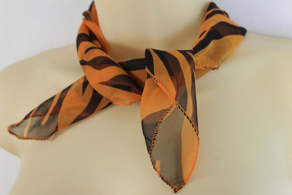 Green Orange Black Neck Scarf Fabric Zebra Animal Print Pocket Square Women Accessories