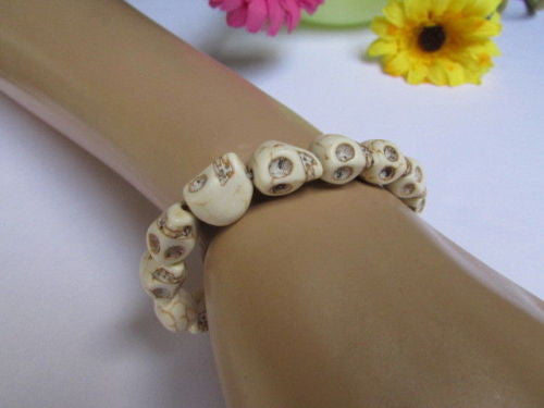 White Skulls Elastic Cuff Bracelet Dia De Los Muertos Halloween Accesories Men Women - alwaystyle4you - 12
