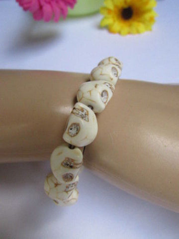 White Skulls Elastic Cuff Bracelet Dia De Los Muertos Halloween Accesories Men Women - alwaystyle4you - 1