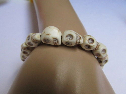 White Skulls Elastic Cuff Bracelet Dia De Los Muertos Halloween Accesories Men Women - alwaystyle4you - 3