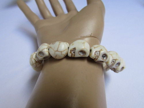 White Skulls Elastic Cuff Bracelet Dia De Los Muertos Halloween Accesories Men Women - alwaystyle4you - 5
