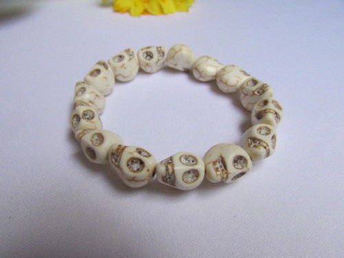 White Skulls Elastic Cuff Bracelet Dia De Los Muertos Halloween Accesories Men Women - alwaystyle4you - 6