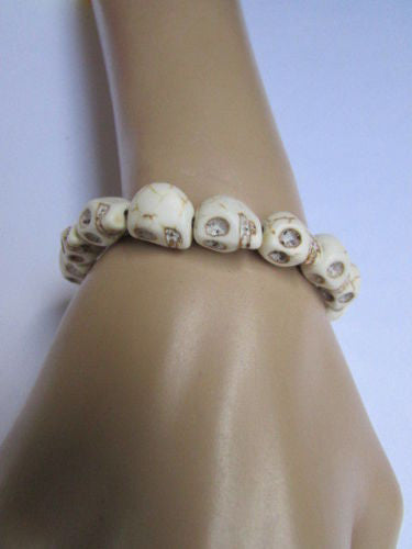 White Skulls Elastic Cuff Bracelet Dia De Los Muertos Halloween Accesories Men Women - alwaystyle4you - 8