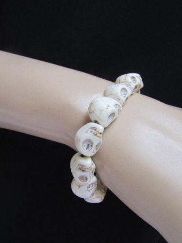 White Skulls Elastic Cuff Bracelet Dia De Los Muertos Halloween Accesories Men Women - alwaystyle4you - 9