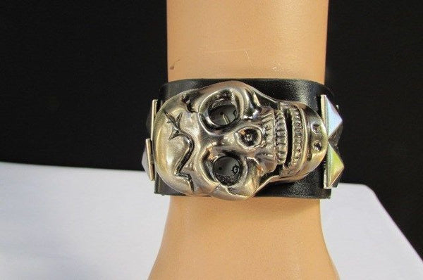 Black Faux Leather Silver / Antique Copper / Rusty Silver Skull Head Quartz Watch Bracelet Biker Punk New Men Women Fashion Accessories - alwaystyle4you - 33