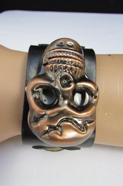 Black Faux Leather Silver / Antique Copper / Rusty Silver Skull Head Quartz Watch Bracelet Biker Punk New Men Women Fashion Accessories - alwaystyle4you - 10
