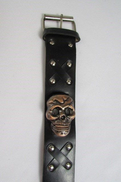 Black Faux Leather Silver / Antique Copper / Rusty Silver Skull Head Quartz Watch Bracelet Biker Punk New Men Women Fashion Accessories - alwaystyle4you - 11