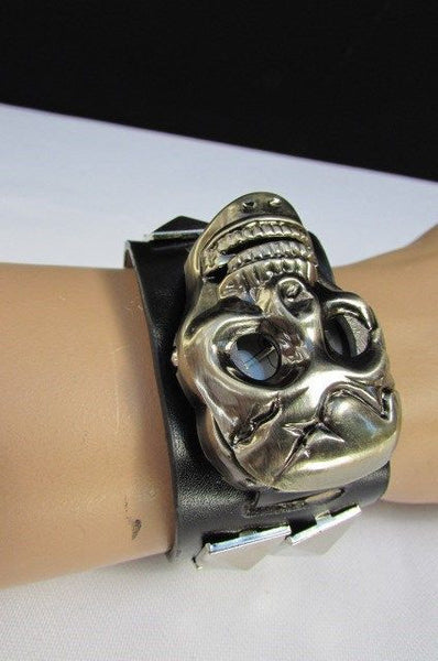 Black Faux Leather Silver / Antique Copper / Rusty Silver Skull Head Quartz Watch Bracelet Biker Punk New Men Women Fashion Accessories - alwaystyle4you - 16