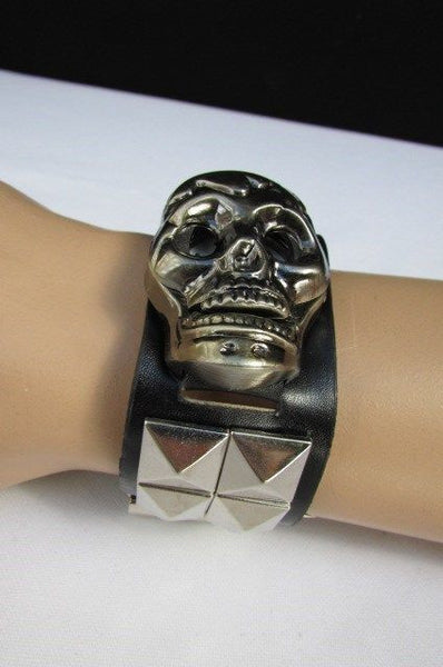 Black Faux Leather Silver / Antique Copper / Rusty Silver Skull Head Quartz Watch Bracelet Biker Punk New Men Women Fashion Accessories - alwaystyle4you - 14