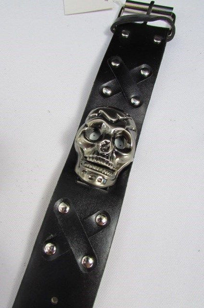 Black Faux Leather Silver / Antique Copper / Rusty Silver Skull Head Quartz Watch Bracelet Biker Punk New Men Women Fashion Accessories - alwaystyle4you - 3