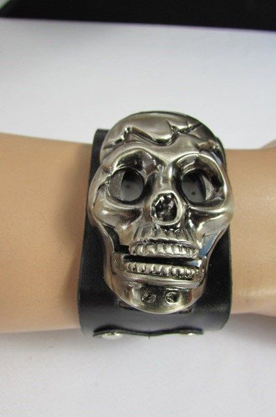 Black Faux Leather Silver / Antique Copper / Rusty Silver Skull Head Quartz Watch Bracelet Biker Punk New Men Women Fashion Accessories - alwaystyle4you - 28
