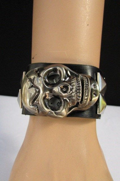 Black Faux Leather Silver / Antique Copper / Rusty Silver Skull Head Quartz Watch Bracelet Biker Punk New Men Women Fashion Accessories - alwaystyle4you - 25