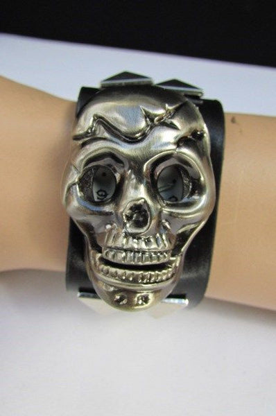 Black Faux Leather Silver / Antique Copper / Rusty Silver Skull Head Quartz Watch Bracelet Biker Punk New Men Women Fashion Accessories - alwaystyle4you - 29