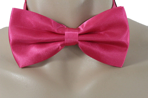 Hot Pink Fabric Neck Bow Tie Fabric Tuxedo Costume New Men Women Teens And Kids Accessories
