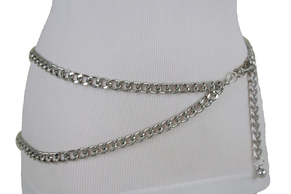 Black Silver Gold Hot Women Belt Metal Chain Links Hip Waist New Biker Punk Fashion Accessories