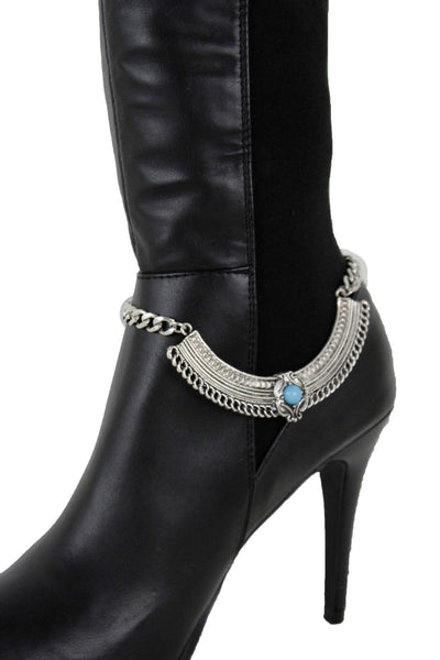 Hot Women Silver Boot Chains Bracelet Shoe Ethnic Turquoise Blue Beads Decoration Accessories