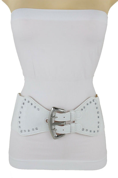 New Women White Color Wide Corset Belt Hip High Waist Silver Metal 2 Buckles S M