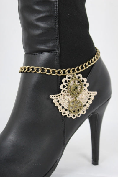 Antique Gold Chain Boot Beige Lace Fabric Western Shoe Steam Clock Charm Women Fashion Accessories
