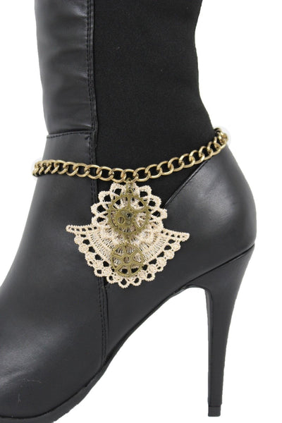 Antique Gold Chain Boot Beige Lace Fabric Western Shoe Steam Clock Charm Punk Rock New Women Fashion Accessories