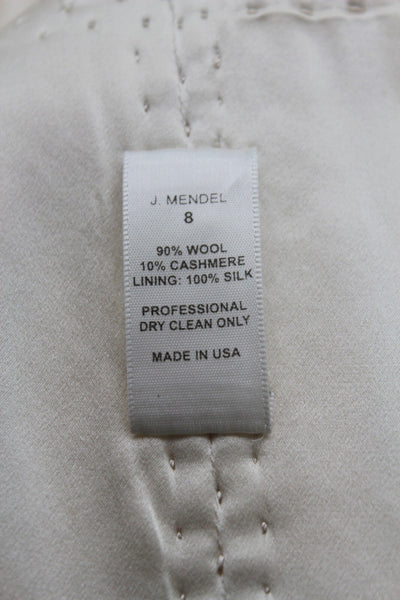 Off White Cream Wool Cashmere Oversized Coat Jacket J. Mendel Paris Women Fashion Size 8 USA