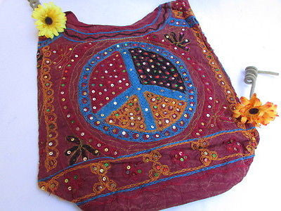 New Women Cross Body Fabric Fashion Messenger Hand Bag Big Peace Sign Black Red Blue - alwaystyle4you - 86