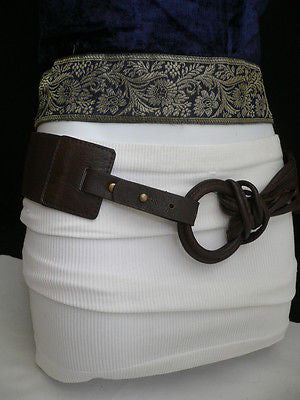 Z NEW CASUAL WOMEN HIP ELASTIC MOCHA BROWN WIDE FASHION BELT CIRCLE BUCKLE S / L - alwaystyle4you - 10