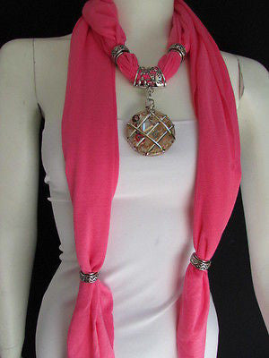 Glass Pendant Pink Soft Fabric Scarf Long Necklace Silver Metal  New Women  Fashion